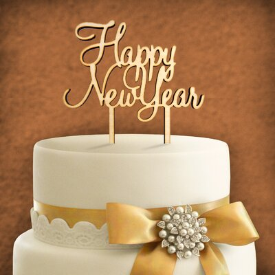Happy New Year Wooden Cake Topper Color: Linen