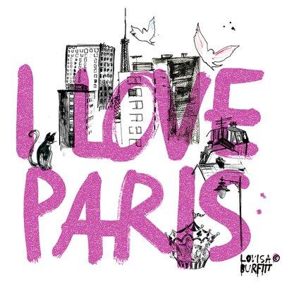Atelier Contemporain I Love Paris by Burfitt Graphic Art Wrapped on Canvas