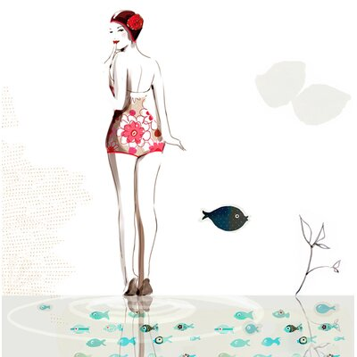 Atelier Contemporain Pink Swim by Sophie Griotto Graphic Art Wrapped on Canvas
