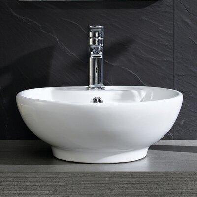 Modern Ceramic Circular Vessel Bathroom Sink with Overflow