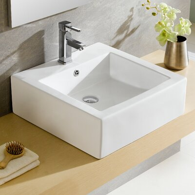Modern Ceramic Square Vessel Bathroom Sink with Overflow