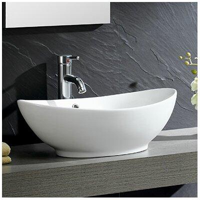 Modern Ceramic Oval Vessel Bathroom Sink with Overflow