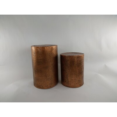 2 Piece Accent Stool Set Finish: Copper
