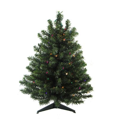 3' Green Artificial Christmas Tree with 50 LED Multi-Color Lights and Stand
