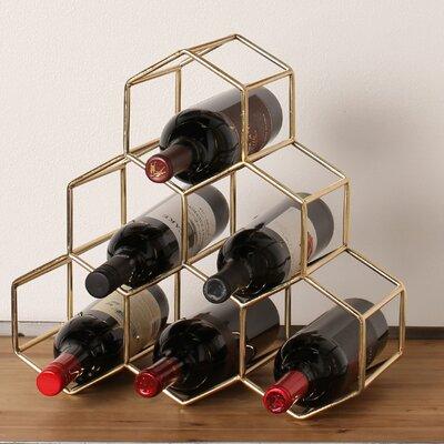 Kitts 6 Bottle Tabletop Wine Bottle Rack Finish: Gold