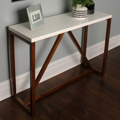Dunstan Wood Console Table Color: White/Walnut Brown