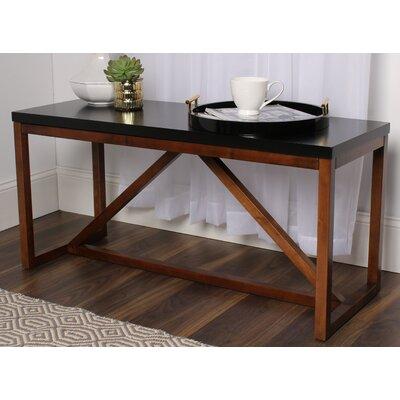 Dunstan Wood Bench Color: Black/Walnut Brown
