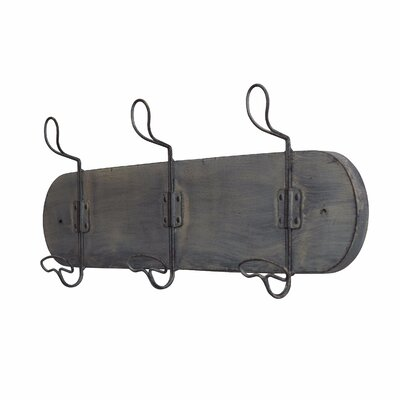Dollis Rustic 3 Hook Wall Mounted Coat Rack