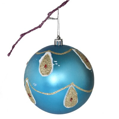 "3.9"" Shatterproof Handpainted Peacock with Acrylic Diamonds Matte Christmas Ball Ornament Color: Light Blue"