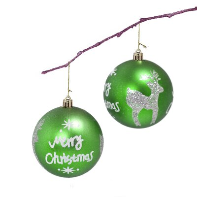 "3.14"" Shatterproof Handpainted Merry Chrismas and Deer Ball Ornament Color: Apple Green"