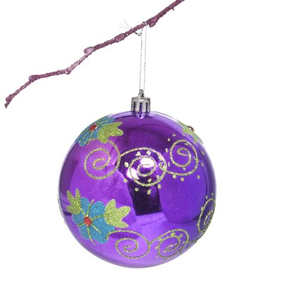 "3.9"" Shatterproof Handpainted Flower with Acrylic Diamonds Christmas Ball Ornament Color: Purple"