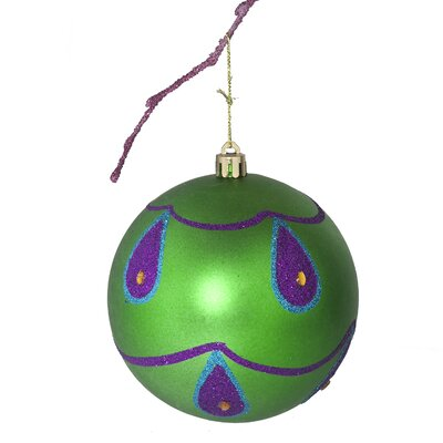 "3.9"" Shatterproof Handpainted Peacock with Acrylic Diamonds Matte Christmas Ball Ornament Color: Green"