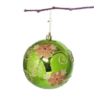 "3.9"" Shatterproof Handpainted Flower with Acrylic Diamonds Christmas Ball Ornament Color: Apple Green"