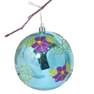 "3.9"" Shatterproof Handpainted Flower with Acrylic Diamonds Christmas Ball Ornament Color: Lake Blue"