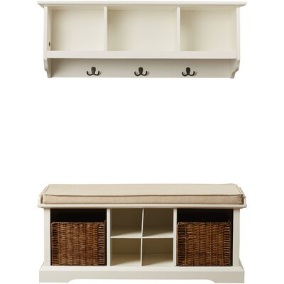 Douglas Wood Storage Bench & Shelf Set Color: White