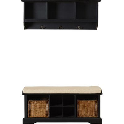 Douglas Wood Storage Bench & Shelf Set Color: Black