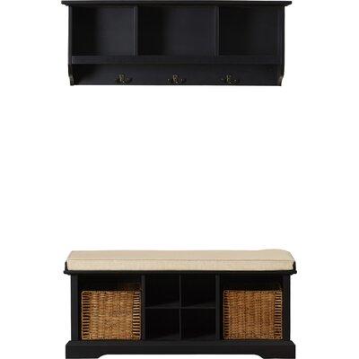 Douglas Wood Storage Bench & Shelf Set Color: Black