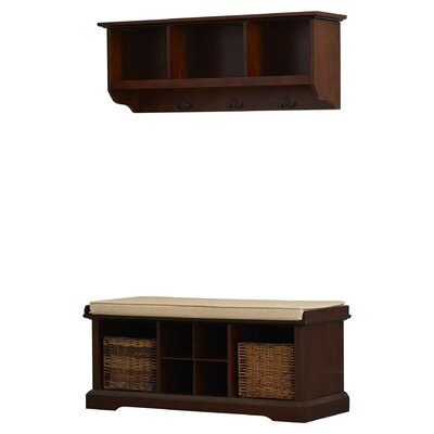 Douglas Wood Storage Bench & Shelf Set Color: Mahogany