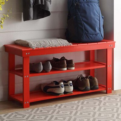 Stoneford Storage Bench Color: Red