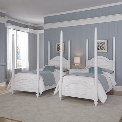 Harrison Twin Four Poster Bed Color: Brushed White