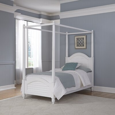 Harrison Twin Canopy Bed Color: Brushed White