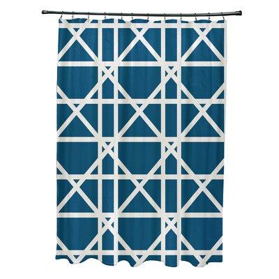Osage Trellis Geometric Print Shower Curtain Color: Teal