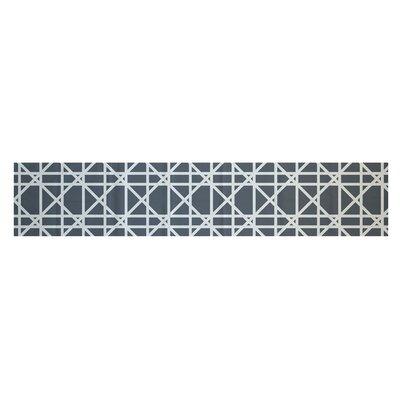 "Osage Trellis Geometric Print Table Runner Size: 90"" W x 0.5"" L, Color: Gray"