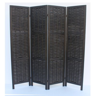 Beech 4 Panel Room Divider Color: Black