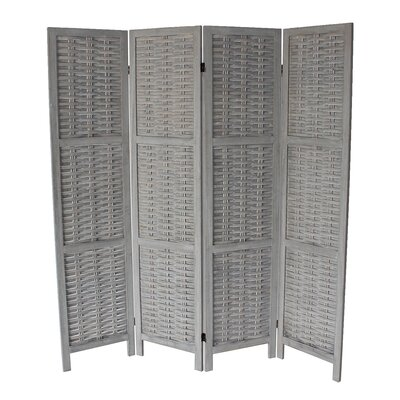 Beech 4 Panel Room Divider Color: Gray