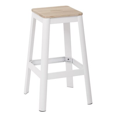 "Achilles 29.5"" Bar Stool Frame Color: White, Seat Color: Lightwood"