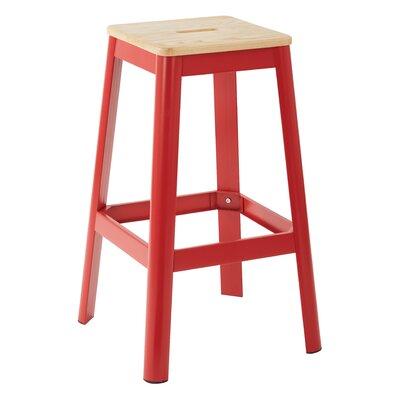 "Achilles 29.5"" Bar Stool Frame Color: Red, Seat Color: Lightwood"