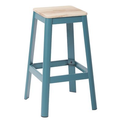 "Achilles 29.5"" Bar Stool Frame Color: Teal, Seat Color: Lightwood"