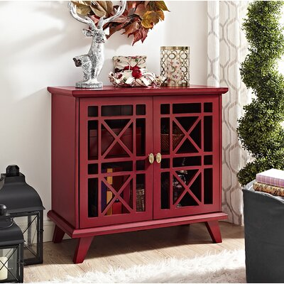 Matheus Fretwork 2 Door Accent Cabinet Color: Red