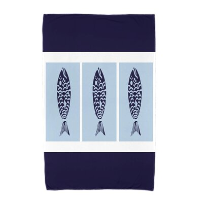 Fish Chips Beach Towel Color: Navy Blue