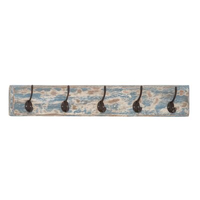Peterborough Blue Metal and Wood Coat Rack