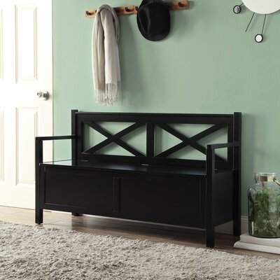 Stoneford Wood Storage Bench Color: Black
