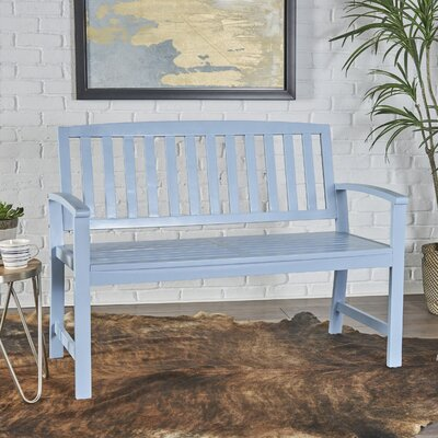 Palm City Wood Bench Color: Light Blue