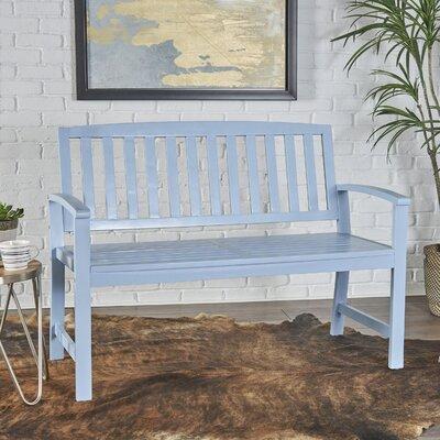 Palm City Wood Bench Color: Light Blue