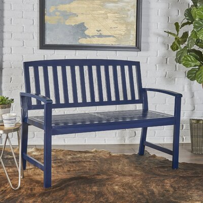 Palm City Wood Bench Color: Navy Blue