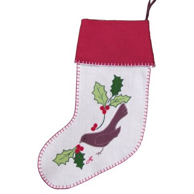 Jan Constantine Linen Bird and Holly Christmas Stocking