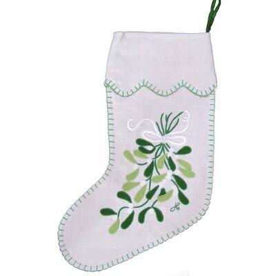 Jan Constantine Linen Mistletoe Christmas Stocking
