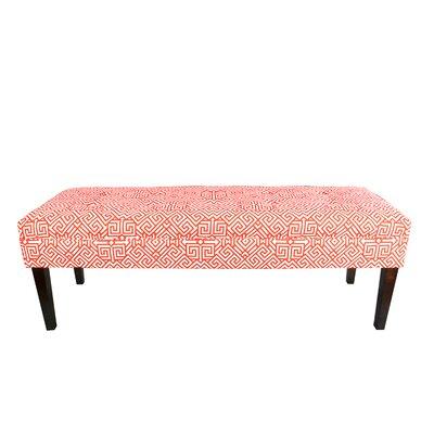 Kaya Santorini Upholstered Bench Upholstery Color: Orange/White