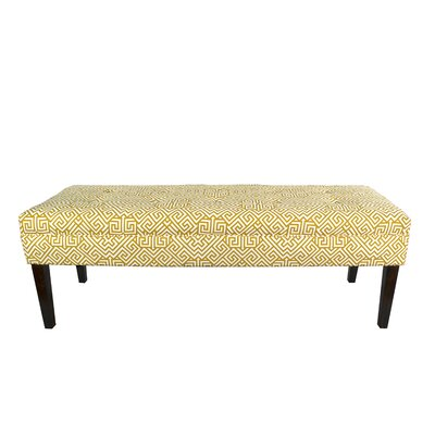 Kaya Santorini Upholstered Bench Upholstery Color: Yellow/White