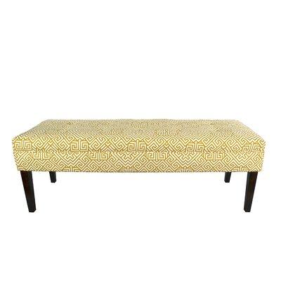 Kaya Santorini Upholstered Bench Upholstery Color: Yellow/White