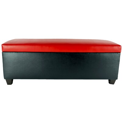 Sole Secret Retro Shoe Storage Bench Lid Upholstery Color: Red, Base Upholstery Color: Black
