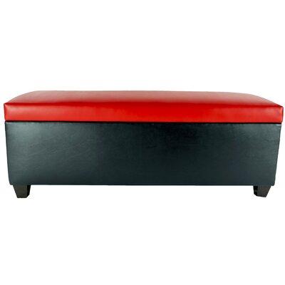 Sole Secret Retro Shoe Storage Bench Lid Upholstery Color: Red, Base Upholstery Color: Black