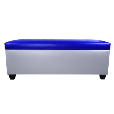 Sole Secret Retro Shoe Storage Bench Lid Upholstery Color: Blue, Base Upholstery Color: Light Gray