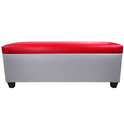 Sole Secret Retro Shoe Storage Bench Lid Upholstery Color: Red, Base Upholstery Color: Light Gray