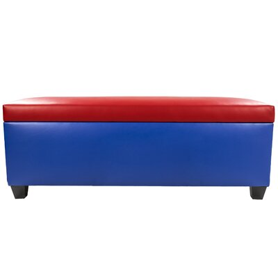 Sole Secret Retro Shoe Storage Bench Lid Upholstery Color: Red, Base Upholstery Color: Blue