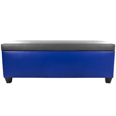 Sole Secret Retro Shoe Storage Bench Lid Upholstery Color: Dark Gray, Base Upholstery Color: Blue